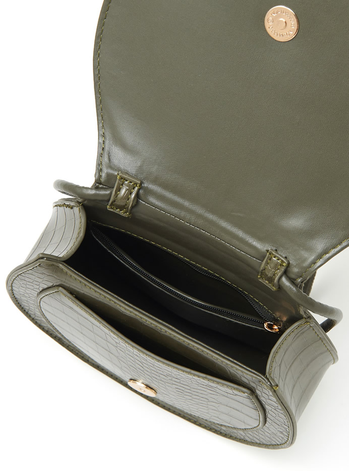 クロコダイル柄セミサークルバッグ
