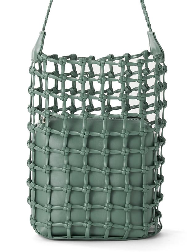 2Wayポーチ付きメッシュ編みレザーショルダーバッグ