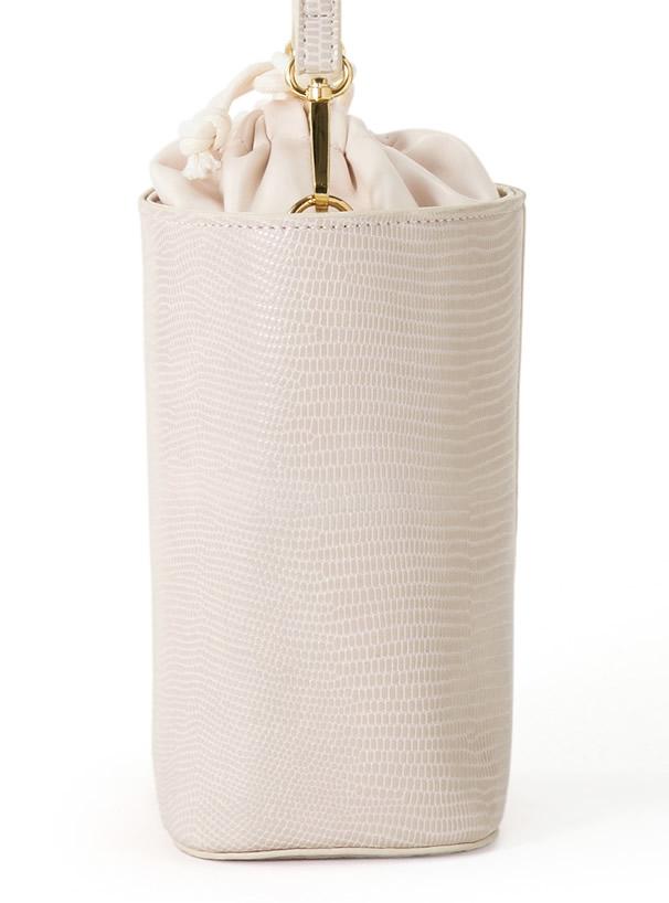 巾着付きパイソン柄スクエアバッグ