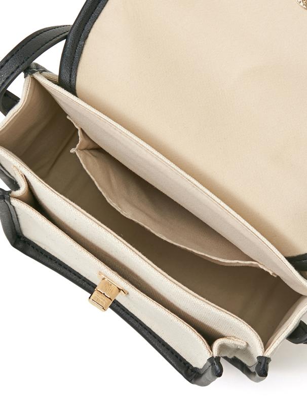 2Way異素材配色パイピングフラップショルダーバッグ
