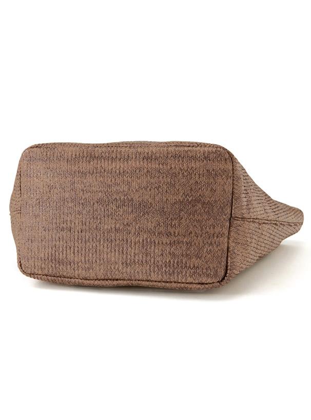 異素材サークルハンドル台形バッグ