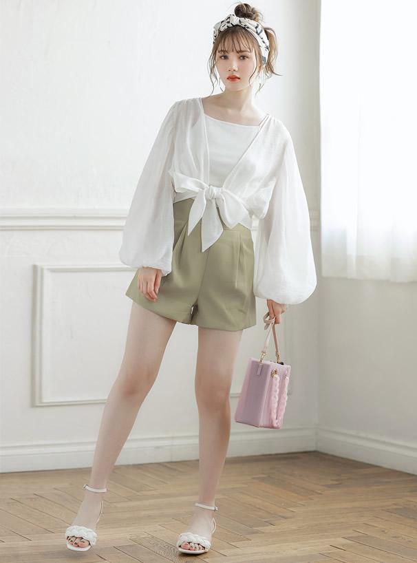 3Way巾着付き異素材ハンドルプリーツショルダーバッグ