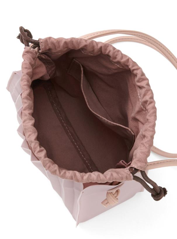2Way巾着付きプリーツ加工ショルダーバッグ