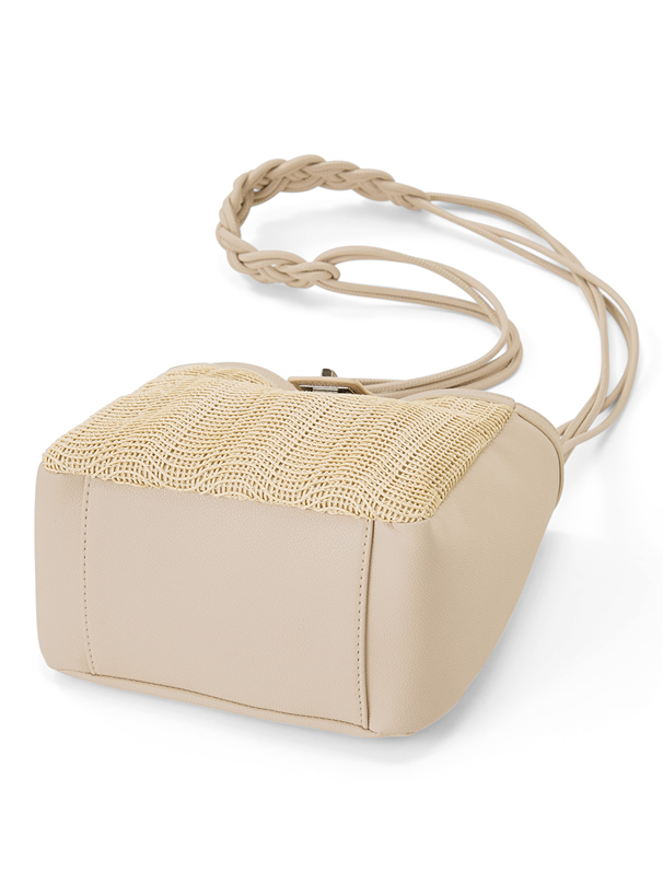 異素材編み込みショルダーバッグ