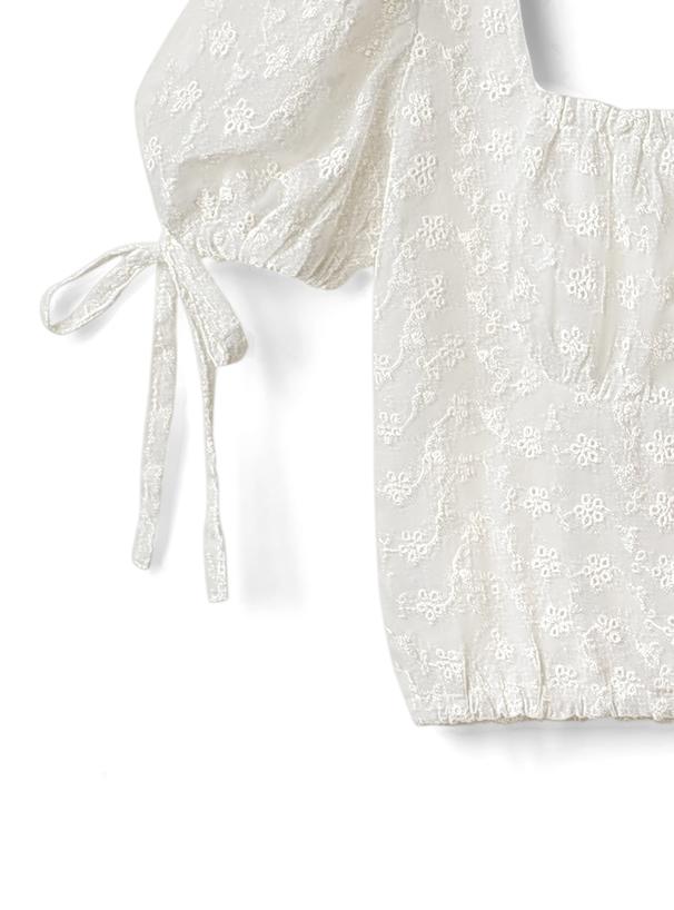 花刺繍スクエアネックリボンパワショルダーブラウス