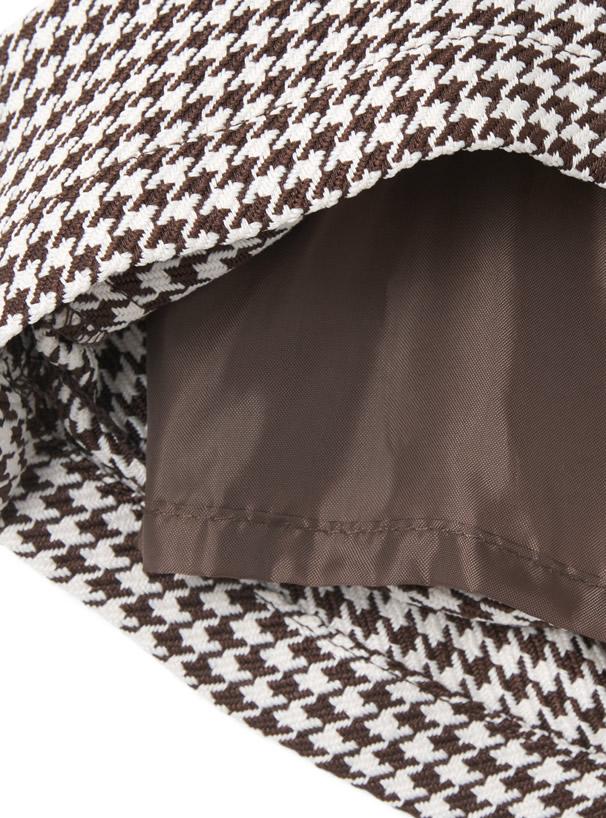 インパン裏地付き千鳥柄台形ミニスカート