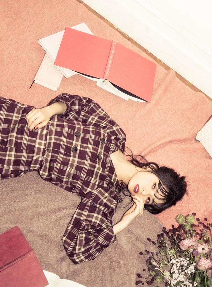 齋藤飛鳥(乃木坂46)チェックブラウスXマーメイドスカートセットアップ