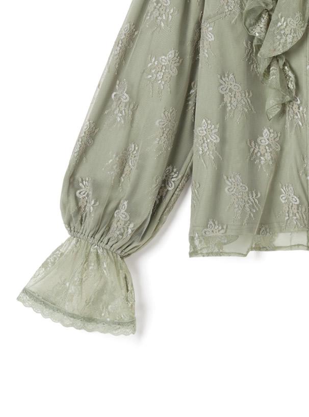 フラワー刺繍チュールブラウス