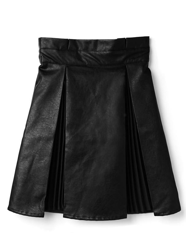 ジョーゼットプリーツ切り替えレザースカート