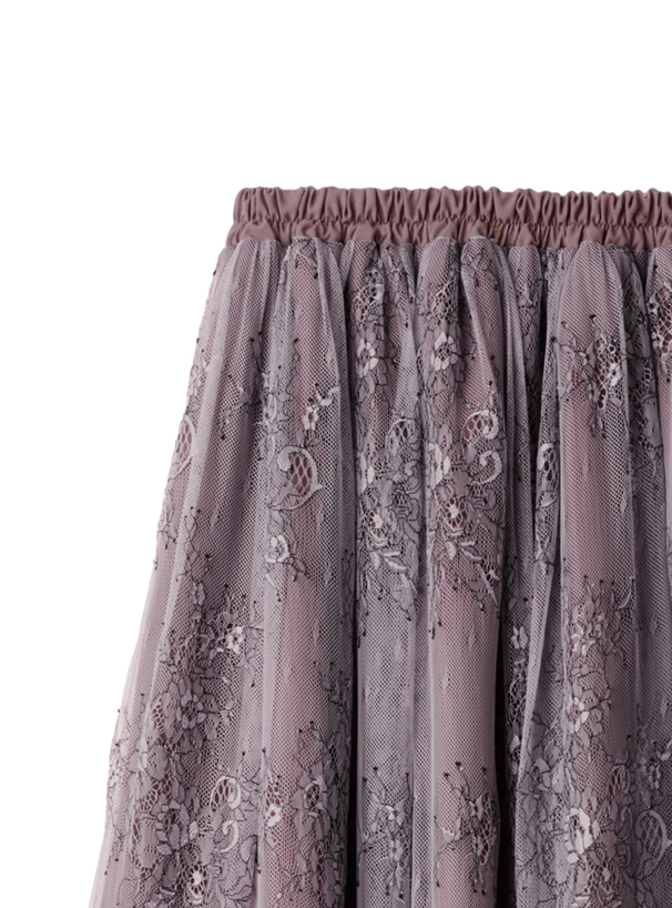 フラワーレースドッキングスカート