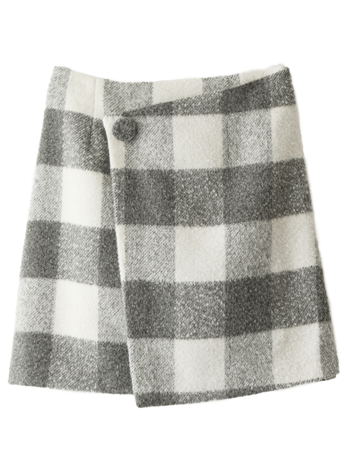 シャギーチェックラップスカート