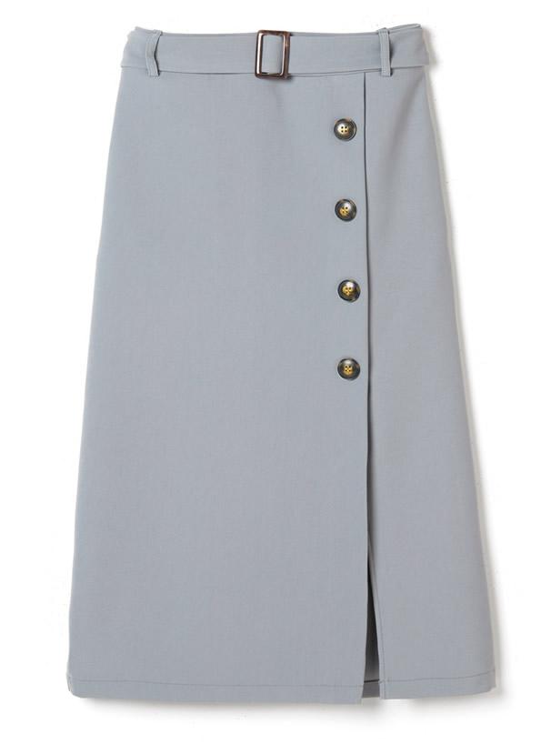 ベルト付きラップデザインナロースカート