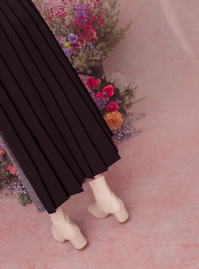 今田美桜 プリーツ切り替えチェックラップスカート
