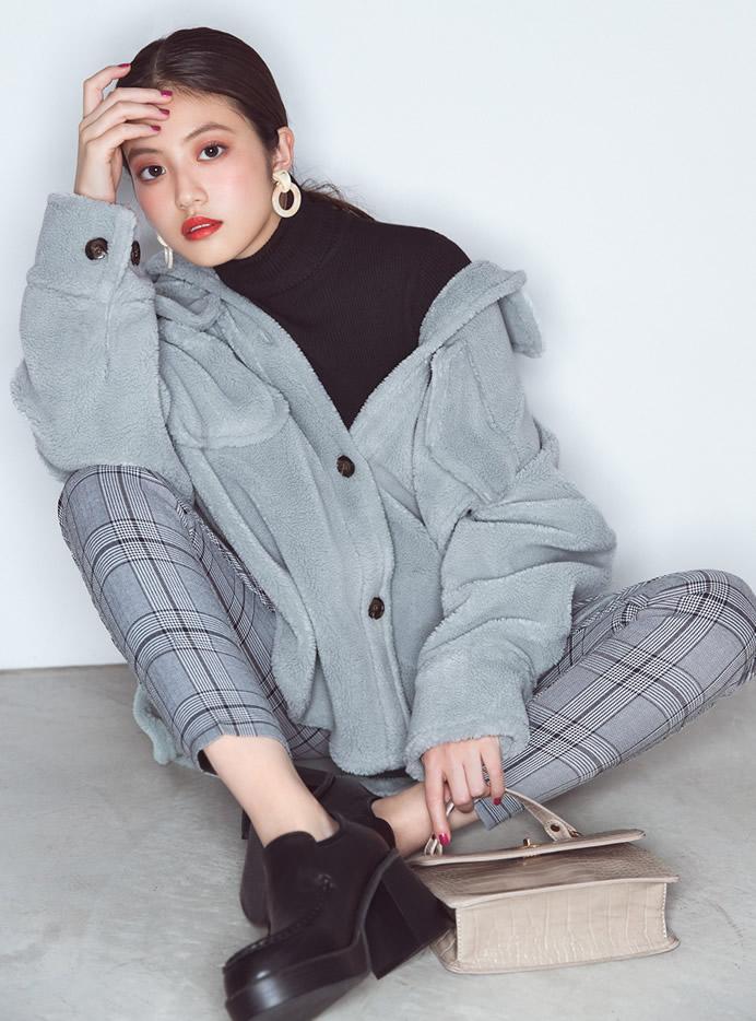 今田美桜 ボリュームシルエットボアジャケット