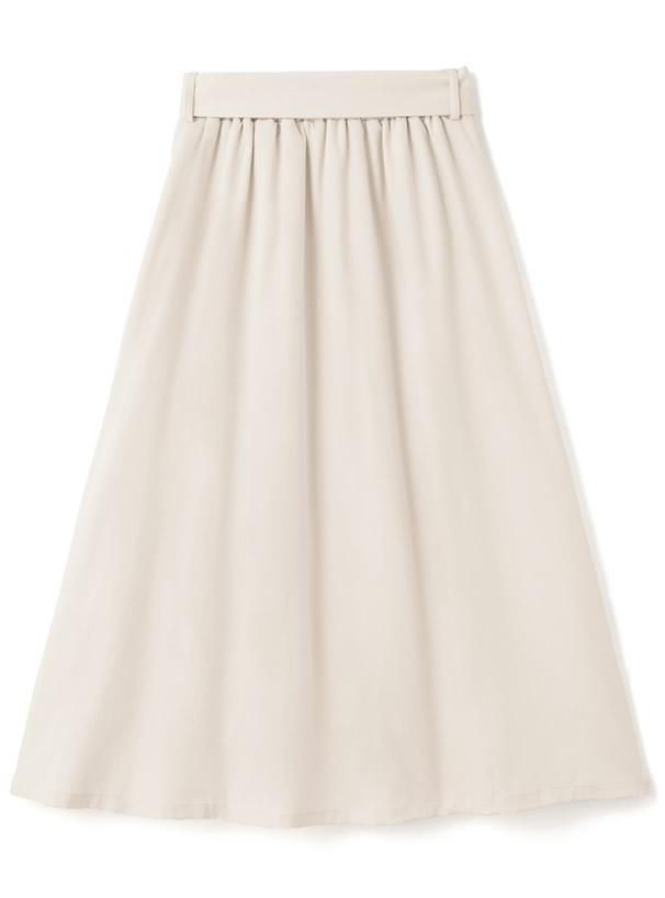 ベルト付き花柄レースプリーツ切り替えスカート