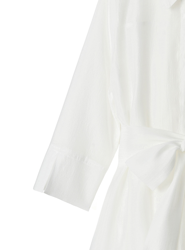 リボンベルト付きシアーイレヘムデザインシャツ