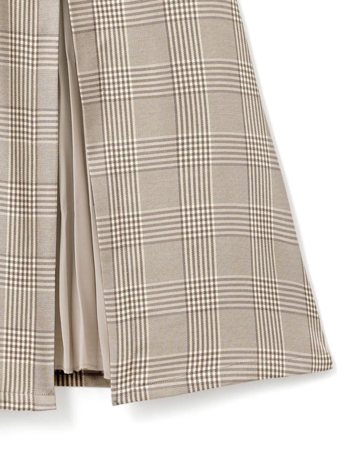 ベルトデザインプリーツ切り替えチェックジャンパースカート