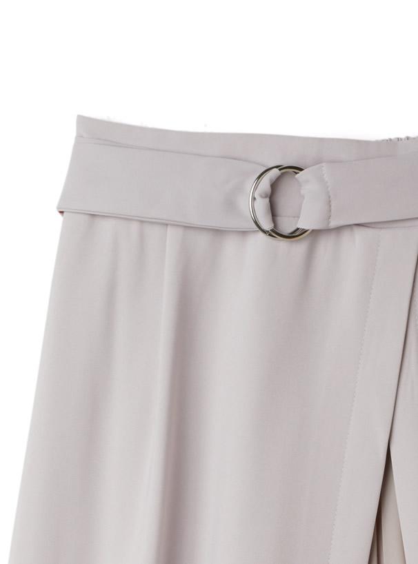 ベルト付きシフォンプリーツ切替ロングスカート