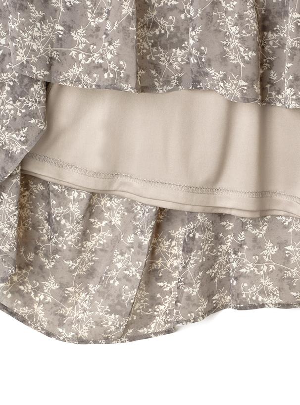 花柄アシンメトリープリーツスカート