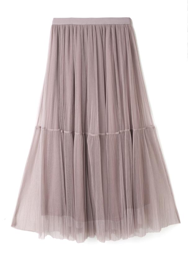 チュールプリーツ2段スカート