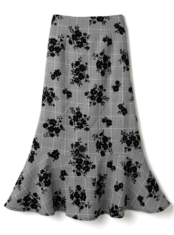 グレンチェック花柄フロッキーマーメードスカート
