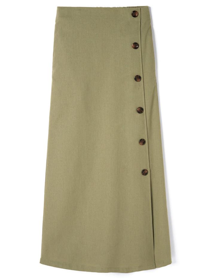 リネン混ラップデザインロングスカート
