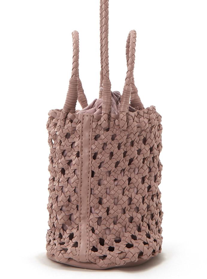 巾着付きミニ編みバッグ