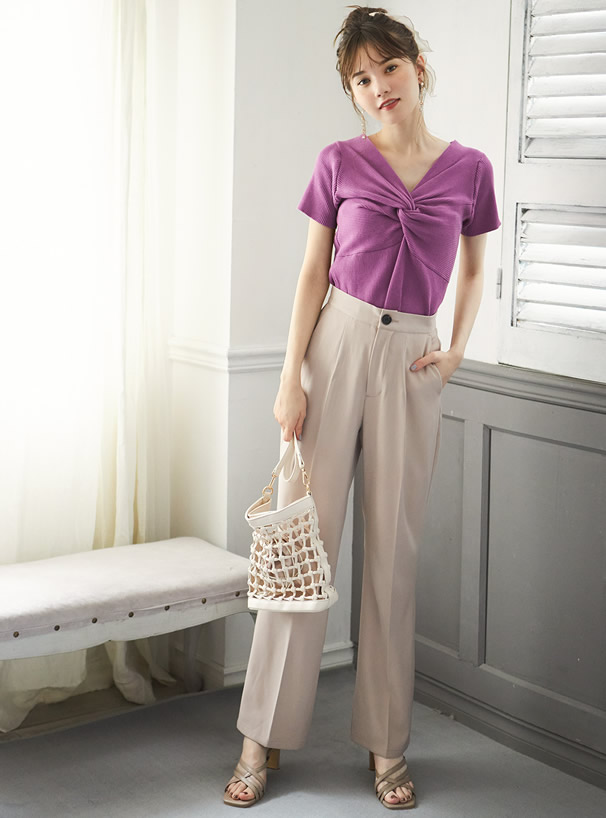 巾着付きレザー編みショルダーバッグ