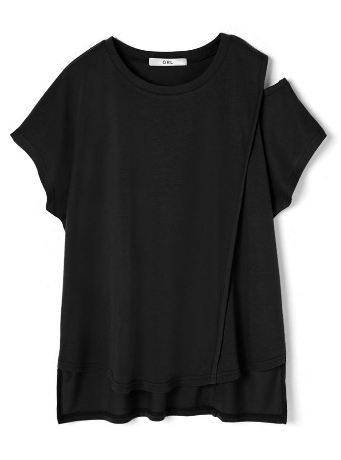 ショルダーカットフレンチスリーブTシャツ