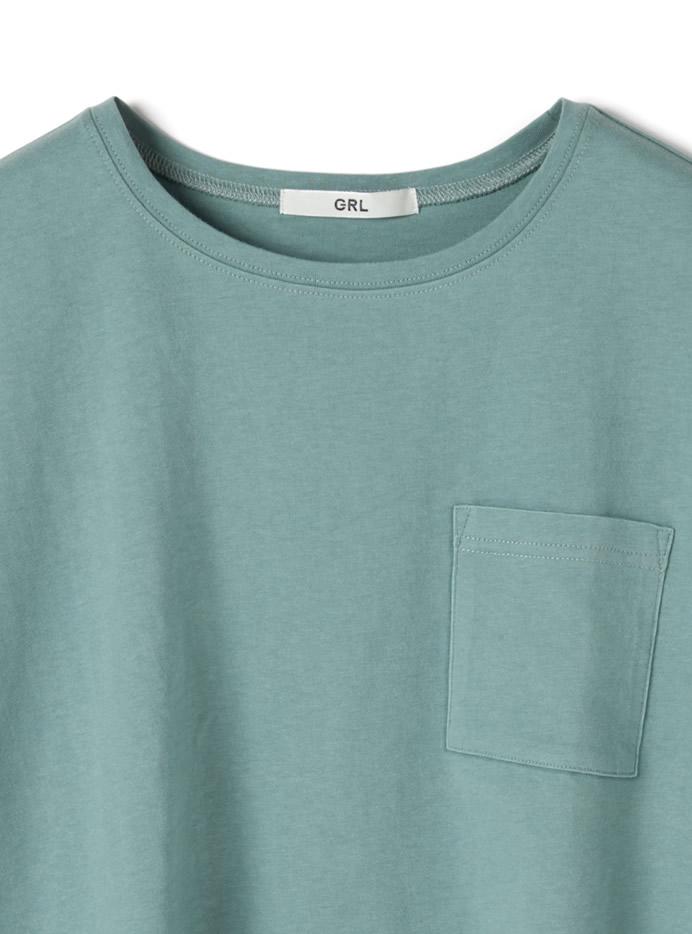 胸ポケット付きサイドスリットコットンTシャツ