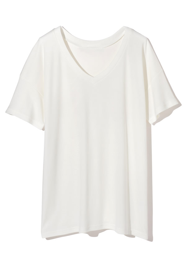 VネックルーズTシャツ