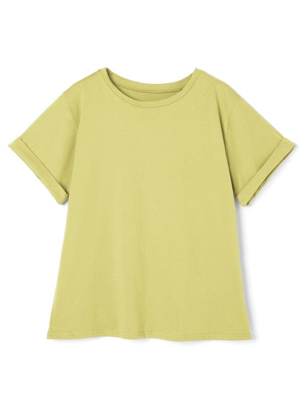 USAコットンロールアップベーシッククルーネックTシャツ