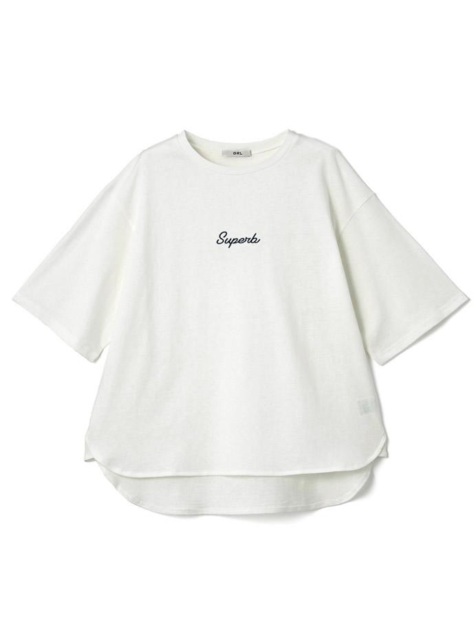 オーバーサイズロゴ刺繍Tシャツ