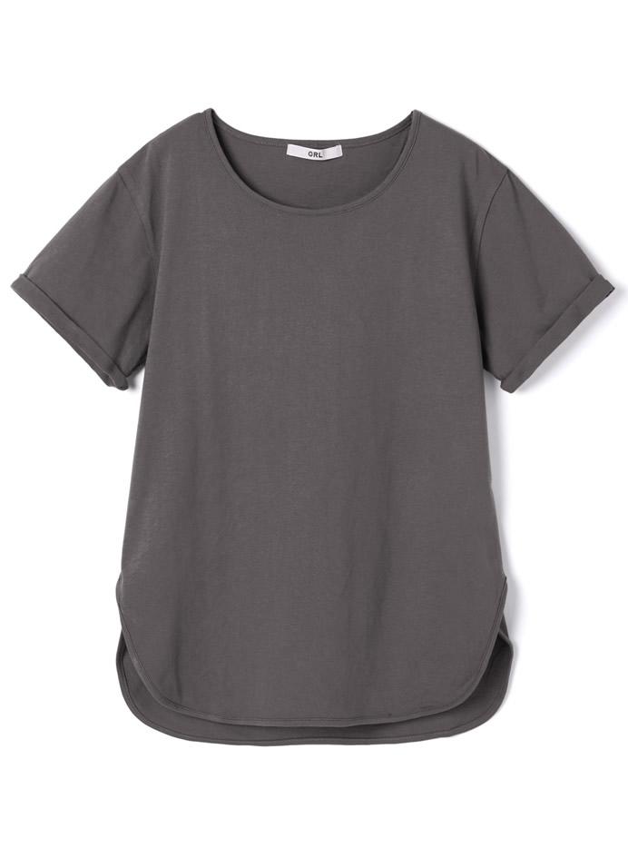 ラウンドヘムコットンTシャツ