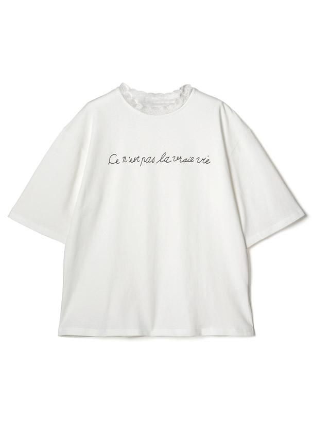 レースネックロゴTシャツ
