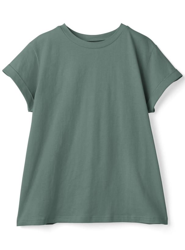 USAコットン袖ロールアップTシャツ