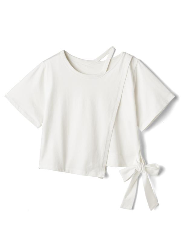 アシンメトリーショルダーカットTシャツ