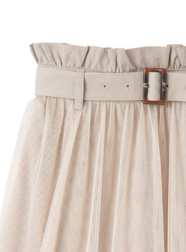 ウエストベルト付きチュールドッキングスカート