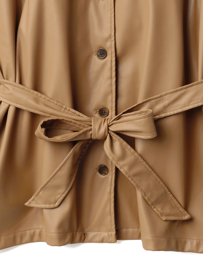 ベルト付レザーCPOシャツジャケット