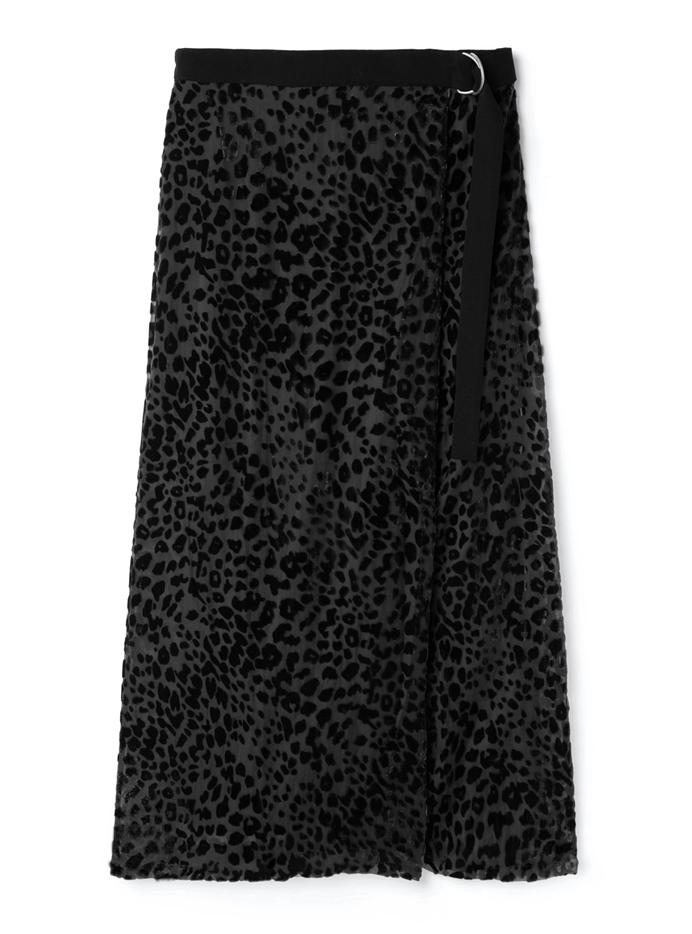ベロアレオパード柄オパールベルトスカート