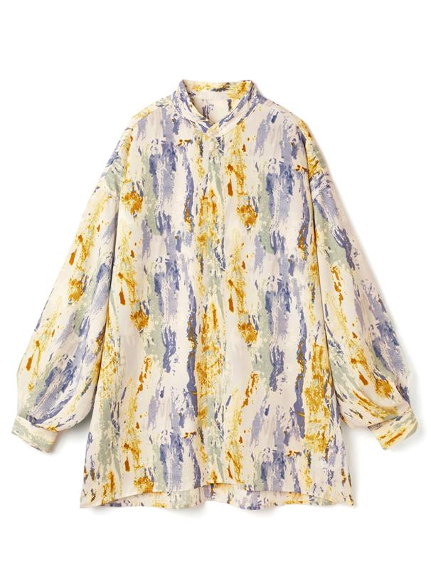 ジョーゼットペイント柄オーバーサイズシャツ
