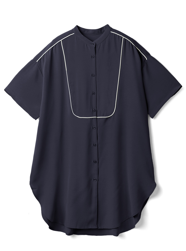 配色パイピングブザムシャツ