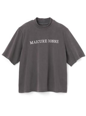 肩パット入りモックネックロゴ刺繍Tシャツ