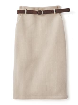ベルト付きウールタッチタイトスカート