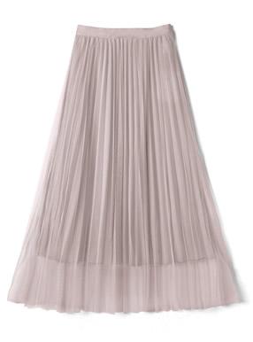チュールプリーツロングスカート