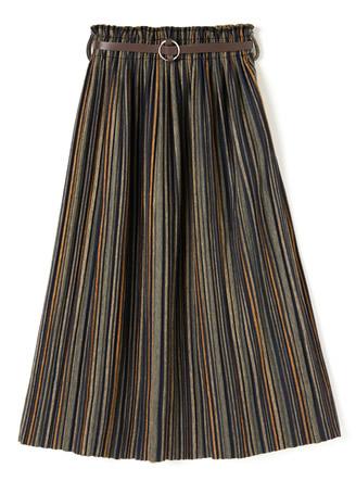 ベルト付きマルチストライププリーツスカート