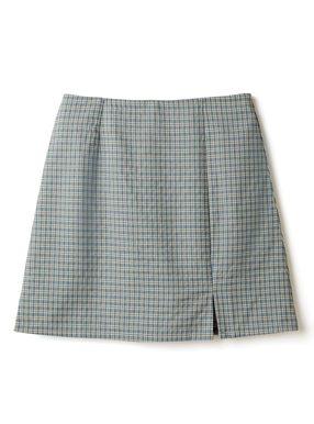 インパン裏地付きスリットチェック柄ミニ丈台形スカート