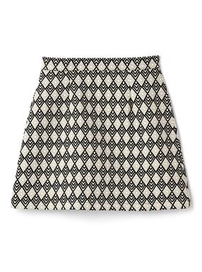 インパン裏地付きダイヤ柄台形ミニスカート