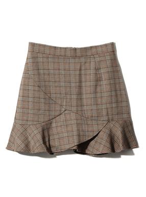 グレンチェックフリルヘムスカート