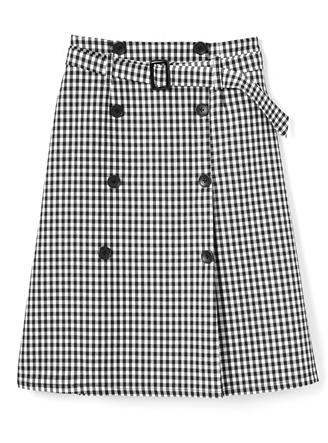 ベルト付ギンガムチェックトレンチデザインスカート